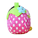 FRISTONE Sweet Strawberry Kids Book Backpack Baby Girls School Bag with Safety Harnesses Reins Belt,Rose Red