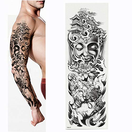 Tatuaggio completo per tatuaggio con braccio a forma di fiore, statua del buddha. tatuaggio per trasferimento del corpo in vernice ad acqua, confezione da 4,17×48cm