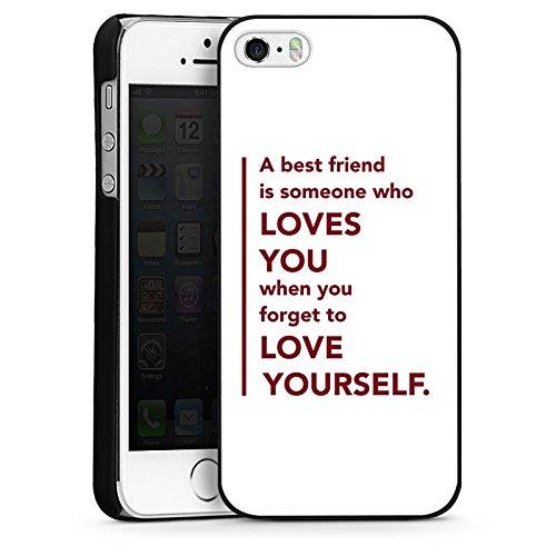 Apple iPhone 5s Housse Étui Protection Coque Meilleur ami Best Friend Ami CasDur noir