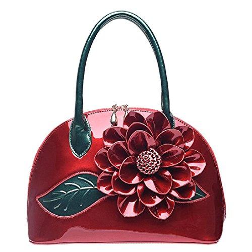 Donna borsetta Borsa a tracolla Elegante Rose Totalizzatore Crossbody Borse per maniglie , green wine red