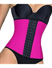 9670bd255 MISS MOLY Women s Latex Belt Waist Trainer Girdle Body Shaper Steel Boned 3  Hooks Cincher