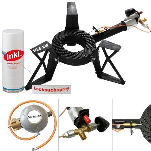 CAGO 3-Bein Hockerkocher 10,5 kW Gasbrenner Gaskocher mit Zündsicherung Piezozündung Gasschlauch Gasregler Lecksuchspray