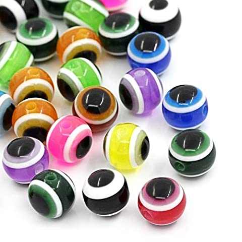 The Bead and Button Box - 100 Mixed Stripe Resin Evil Eye Multi-coloured Beads 8mm, Hole size Approx 1.8mm. Perfect for Jewllery Making and other Crafts