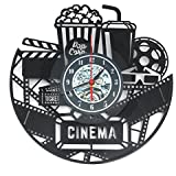 Rishil World 12 12 Inch 3D Black Popcorn Wall Clock Theater Movie Cinema Snack Bar Clocks Home Decor