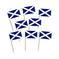 Pack of 100 Scotland St Andrew Flag Cocktail Picks for Cupcakes, Canapés etc