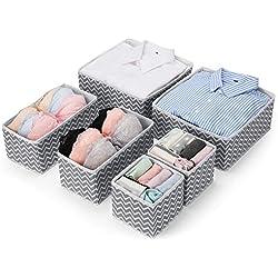 MaidMAX 6 Organiseur de Tiroir Pliable Non-tissé pour sous-vètements, Boîte de Rangement pour Armoire et tiroir de Placard, paniers de Rangement pour Chambre d'enfant, Gris et Blanc Zigzag