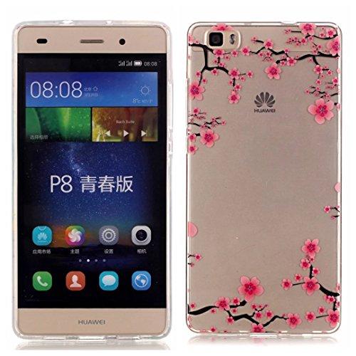 Huawei p8 lite Custodia,KSHOP TPU Custodia conchiglia Caso Case Cover in silicone morbido Flessibile TPU modelli colorati - Fiori di Pruno