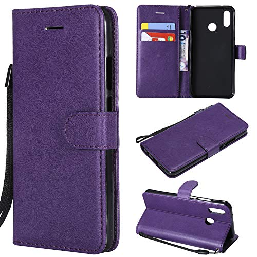 ARRYNN Huawei P20 Lite Ledertasche - Lederhülle mit Kartenfach, Extra Dünn, Tasche Premium Design Leder Hülle - Violett