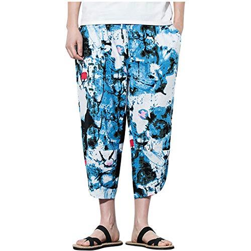 Dasongff Herren Bedruckte Kurz Haremshose Lose Leinen Freizeithose Männer Floral Pattern Pants Entspannte Hose Cross Pants Weite Hose Pumphose mit Zwei Taschen Strandhosen -
