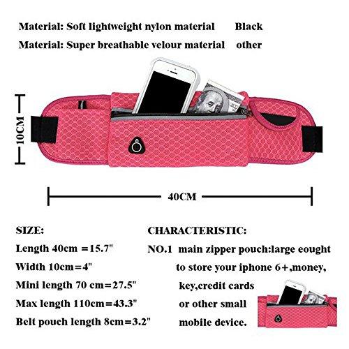 Wander-Hüfttaschen Wasserdicht Bauchtasche Jogging Tasche Gürteltasche mit Reissverschluss By Sijueam Rose