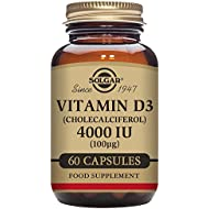 Solgar Vitamin D3 (Cholecalciferol) 4000 IU (100 µg) Vegetable Capsules - Pack of 60