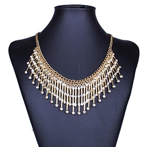 Tono Collana In Oro Bling Bastone Strass Penzolare Fascino Nappa Bib Choker Donne (Tono Oro Nappa)