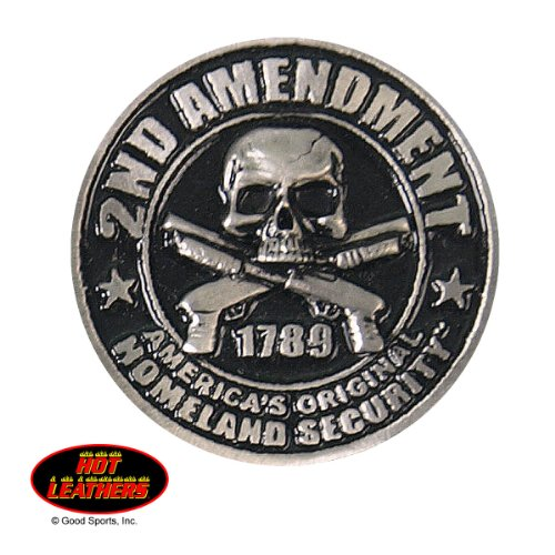 2ND AMENDMENT - SKULL & TWO CROSSED PISTOL, Original Artwork, Expertly Designed Lead Free PIN