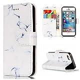 HUDDU Compatible for iPhone 5S Hülle Marmor Schutzhülle Klapphülle Stand Brieftasche Tasche Leder Flip Case Cover Kartenfach Ledertasche Klappbar Handyhüllen iPhone 5S - Weiß Marmor