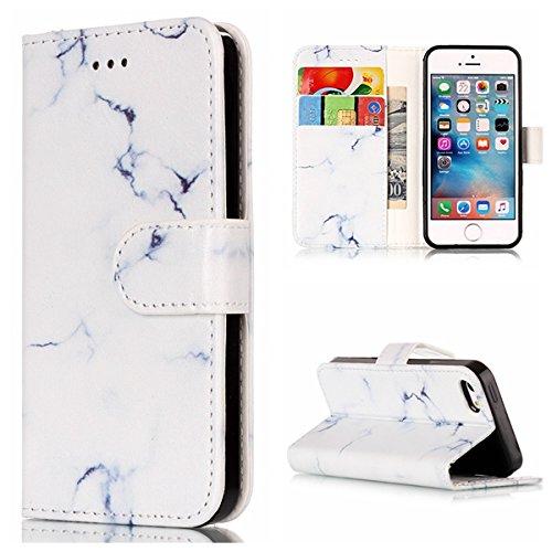 GR Premium PU Leder Brieftasche Case Cover für Apple IPhone 5 5s & SE, Horizontale Flip Case Cover Luxus Blume / Marmor Textur Fall mit Magnetverschluss & Halter & Card Cash Slots ( Color : H ) G