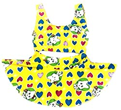 Kids Girls Swim 2 Piece Suit Yellow Cat Heart Cartoon Print (Swimming Costume Swimwear & Beach Wear)