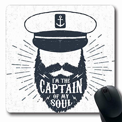 Luancrop Mousepads Navy Hat Handgezeichnete Vintage Label Retro Gravur Badge Captain Soul Hipster Cap Zeichnung Gesicht Design rutschfeste Gaming Mouse Pad Gummi längliche Matte