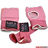 MAXSTRENGTH Innen Handschuhe Offene Finger gepolsterten Hand Wrist Wraps Karate MMA Boxen Bandage Packungen S M L XL, rose