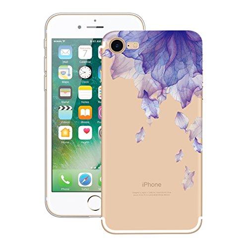 Yokata iPhone 7 Plus Hülle Soft Flexible Silikon Crystal Clear Transparent Bumper Ultra Dünn Schlank Handyhülle Premium Kratzfest TPU Durchsichtige Schutzhülle für iPhone 7 Plus (5,5 Zoll) Case Cover  Lila Blumen