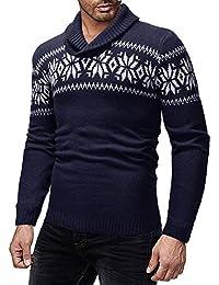 JiaMeng Suéter de Invierno de Punto Superior suéter Outwear Blusa Ropa de Abrigo Top Moda Mens Slim Diseñado