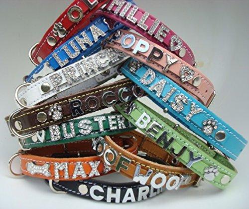 Hunde-/Katzenhalsband, Leder, personalisierbar, Größe XS (Halsumfang: 21 cm - 27 cm und 24 cm - 31 cm) -