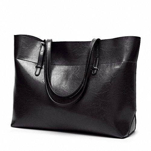 Womens Soft Leder Handtaschen grosser Kapazität Retro Vintage Top-Griff lässige Shopper Taschen