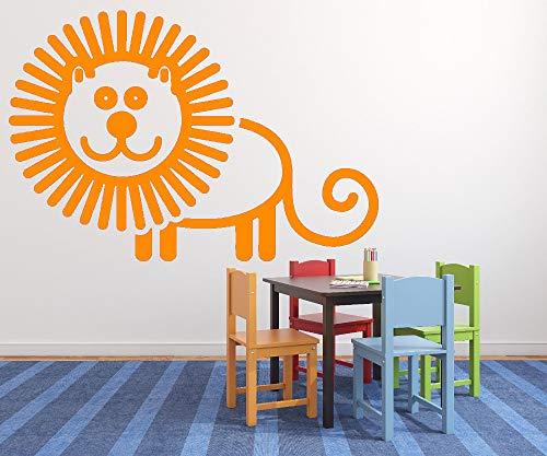jiushizq Nettes Baby Kinderzimmer Wandaufkleber Aufkleber Animiertes Bild Fröhlich Löwe Ungiftig PVC Kinderzimmer Kunst Wohnkultur L 4 82 cm x 56 cm