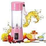 Mini tragbaren Mixer 500 ml Entsafter Mixer Obst-Mischmaschine mit USB-Ladekabel 4 Klingen für hervorragende Mischung abnehmbare Tasse (Pink)