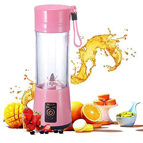 Mini Mélangeur Portable 400ml Juicer Blender Fruit Mixing Machine avec Câble Chargeur USB 4 lames pour Superbe Mixte Coupe Amovible (Rose)