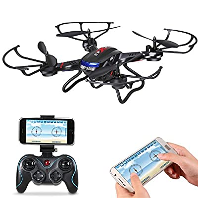 Holy Stone F181W WiFi FPV Drone with 720P Wide Angle HD Camera RC Quadcopter with Altitude Hold, Gravity Sensor Function, Easy Fly for Beginner, Compatible with VR Headset, Bonus Battery Included from Holy Stone