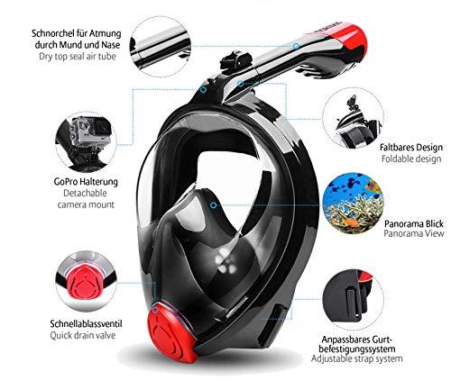 TOREDOO Schnorchelmaske Tauchermaske Vollgesichtsmaske Vollmaske Tauchmaske faltbar mit Kamera Halterung