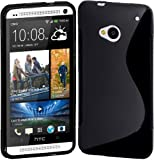 New HTC One (M7) 2013 BLACK 'S' Wave Gel / Silicone / Hybrid Case Cover Skin With BONUS HTC One Screen Protector - Accessories Accessory By InventCase®