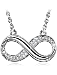 "Susan Y Infinity Pendant Necklace Women Clear Crystals from Swarovski Gold Plated 18""+2"" Extender, Allergy-Free Passed SGS Inspection"