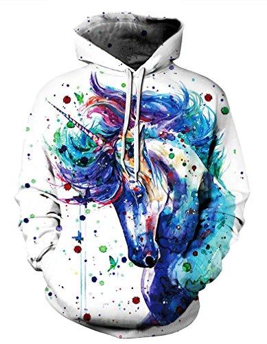 Leslady Unisex Hoodies Kapuzenpullover Damen 3D Druck Galaxy Langarm Sweatshirt Kapuzenjacke mit Taschen(Large/X-Large, 1-Pferdemalerei)