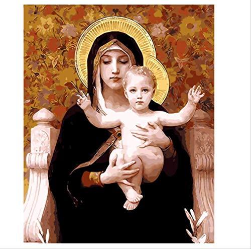 YuHanWei Dekor Mutter Gottes Ölgemälde Bilder Nach Zahlen Digitale Bilder Färbung Von Hand Einzigartiges Geschenk Dekoration Jungfrau Maria