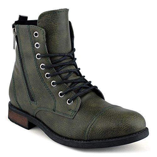 FiveSix Herren Biker Boots Schnür Stiefeletten Stiefel Grün EU 41