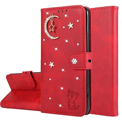 Miagon Diamant Brieftasche Hülle für Huawei P20 Lite,Mond Star Katze 3D Design PU Leder Flip Handyhülle Klapphülle Klappbar Silikon Bumper Schutzhülle,Rot