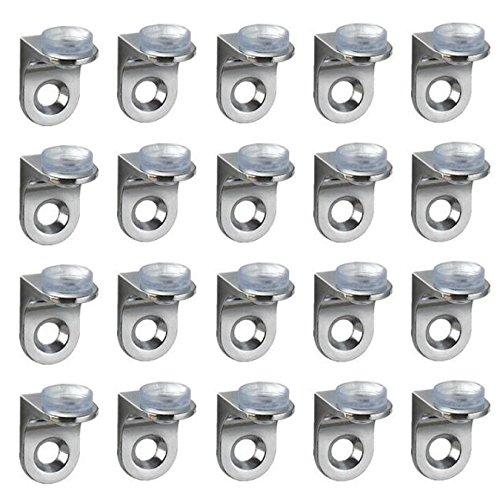 UOOOM Rechtwinklige Wandhalterungsbefestigungsclips für Regale mit Saugnapf, Glasregalstützen, 20 Stück - Aus Rostfreiem Stahl Küche Schrank