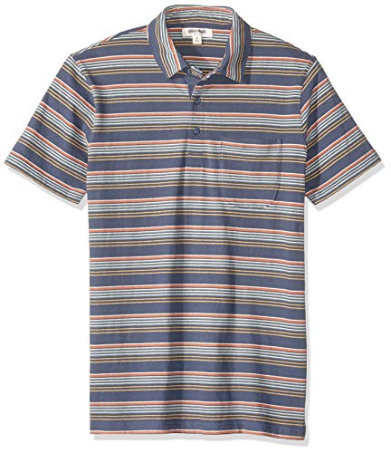131d7b9e87 Goodthreads Short-Sleeve Sueded Jersey Polo Shirts, Navy Gradient Stripe,  Medium Tall