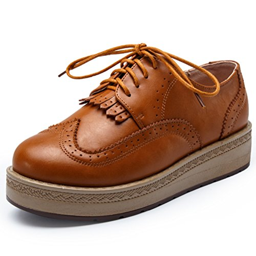 Damen Herbst Retro Britische Stil Bullock Muster Dicke Sohle Quaste Bequeme Flache Halbschuhe Sneakers Mokassins Braun