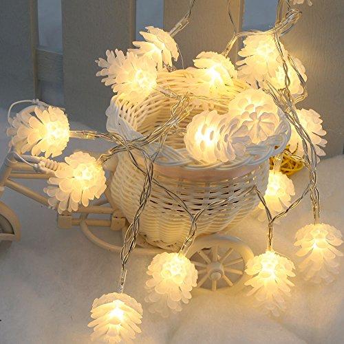 Docooler 2,2 M 20 LED Warm Pigna bianca lampada fata stringa luce per il regalo di festa matrimonio natale Home Camera Decor