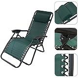 Todeco - Chaise longue de jardin inclinable, transat métal et toile textilène