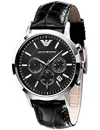 Armani correa de reloj AR2447 Cuero Negro 22mm + costura negro(Sólo reloj correa - RELOJ NO INCLUIDO!)