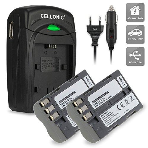 2x CELLONIC Batería EN-EL3 incl. Cargador premium MH-18a para Nikon D50 Nikon D70s Nikon D80 D90 D200 D300 D300S (1600mAh) ENEL3,EN-EL3e bateria de repuesto, pila reemplazo, sustitución incl. fuente alimentación + cargador de coche - cargador automóvil / corriente
