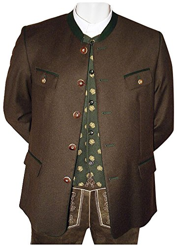 Brown-streifen-wolle-anzug (Gr. 48 Lodenjanker Loden Janker Jacke braun Trachtenjacke Trachtenjanker Tracht Lodenjacke Trachtensakko Kärntner Sakko Lodensakko, Größe:48)