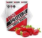 Proteína en polvo rica en aminoácidos y carbohidratos, ideal para aumentar masa muscular. Suplemento para batido de proteína aislada de suero para ganar músculo. Sabor agradable (Fresa)