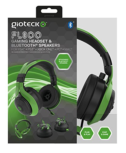 Price comparison product image Gioteck FL300 Wired Stereo Headset with Removable Bluetooth Speakers - Green (Xbox One/PS4/Playstation Vita/Mac/PC DVD)