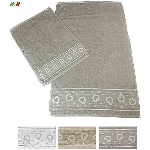 Amore cuori coppia di asciugamani in spugna [PANNA] - Goffrato Asciugamani Ospiti