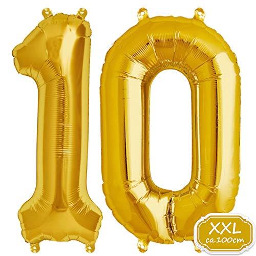DeaGo XXL Folienballon Zahl [ca.100cm], Gold Luftballon Zahlen für Geburtstag Jubiläum & Party Geschenk partydeko Folienballon Zahlen Luftballons Happy Birthday (Gold [10])