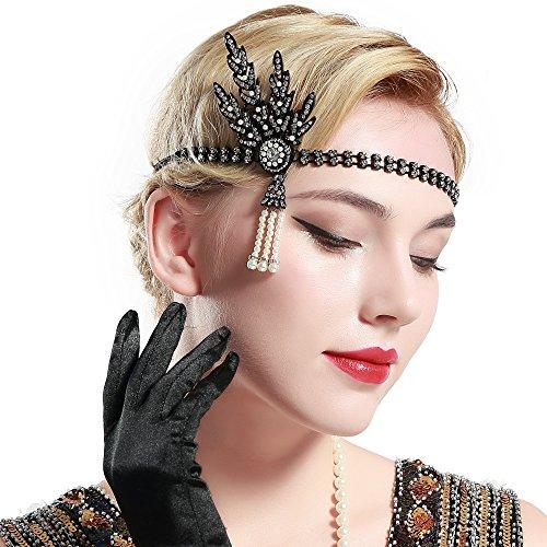 Babeyond® Damen Stirnband Art Deco 1920 Stil Flapper Stirnband Great Gatsby Accessoires Haarband Blatt Medaillon Perle Kopfstück Stirnband (Schwarz) (Gatsby Stirnband Schwarz)